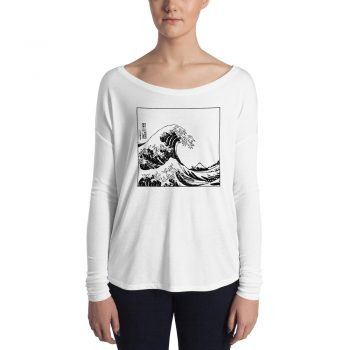 The Great Off Kanagawa Wave Ladies Long Sleeve T shirt