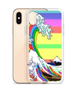 Rainbow Japanese Wave Custom iPhone X Case
