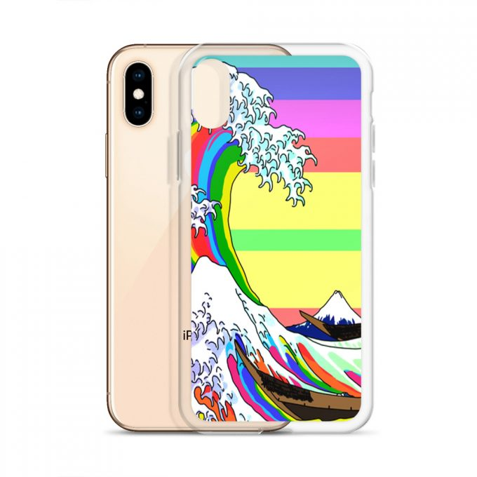 Rainbow Japanese Wave Custom iPhone X Case