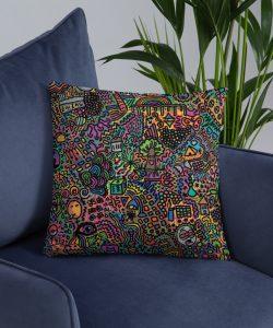 Vintage Pop Art Pattern Throw Pillow