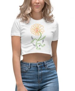 Vintage Sunflower Dance Pop Art Women's Crop Top