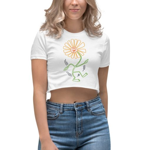 Vintage Sunflower Dance Pop Art Women's Crop Top
