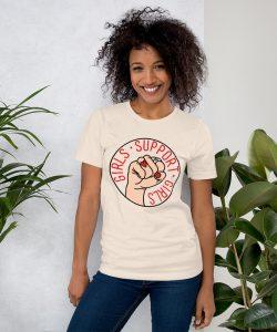 Girls Support Girls Feminist Slogan T Shirt