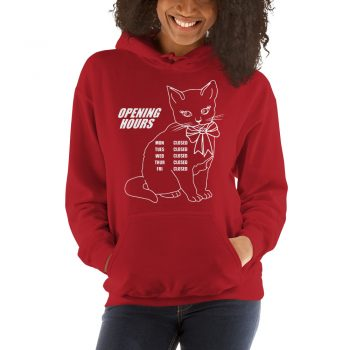 Cute Opening Hours Kitty Unisex Hoodie