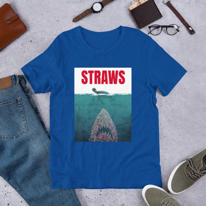 Straws Jaws Turtle Parody Unisex T Shirt