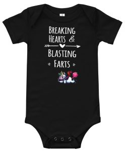 Funny Unicorn Breaking Hearts and Blasting Farts Cute Baby Onesie
