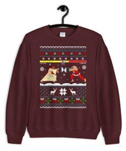 Jesus Vs Santa Funny Street Fighter Ugly Christmas Sweatshirt