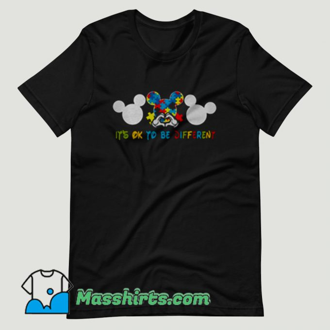 Autism Mickey Mouse It's Ok To Be Different T Shirt Design