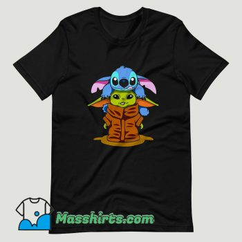 Baby Stitch And Baby Yoda Are Friends T Shirt Design