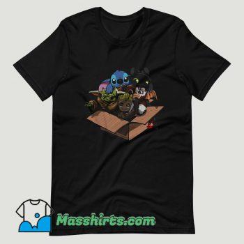 Baby Yoda Baby Stitch Baby Night Fury And Baby Groot In The Box T Shirt Design