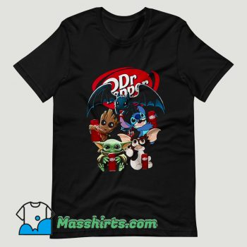 Baby Yoda Groot And Toothless Stitch Gizmo Hugging Dr Pepper T Shirt Design