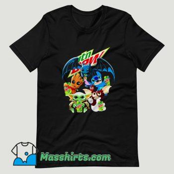Baby Yoda Groot Stitch Toothless hugging Mtn Dew T Shirt Design