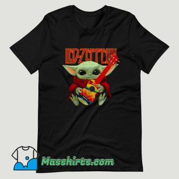Baby Yoda Hug Ledzeppelin Guitar T Shirt Design