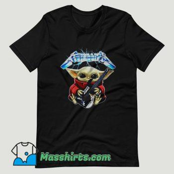 Baby Yoda Hug Metallica Guitar T Shirt Design