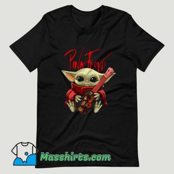 Baby Yoda Hug Pink Floyd Guitar T Shirt Design