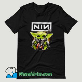 Baby Yoda hug Nine Inch Nails guitar T Shirt Design