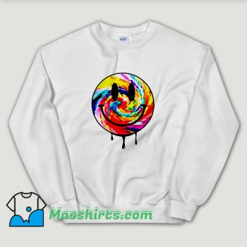 Cheap Acid Dripping Smiley Face Tie Dye Unisex Sweatshirt