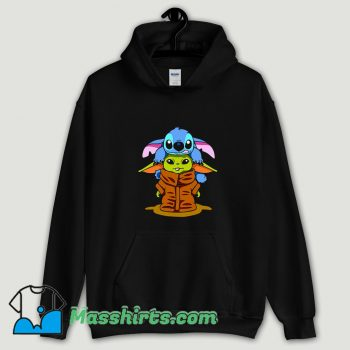 Cool Baby Stitch And Baby Yoda Are Friends Hoodie Streetwear