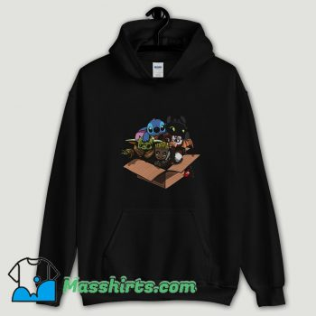 Cool Baby Yoda Baby Stitch Baby Night Fury And Baby Groot In The Box Hoodie Streetwear