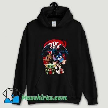 Cool Baby Yoda Groot And Toothless Stitch Gizmo Hugging Dr Pepper Hoodie Streetwear