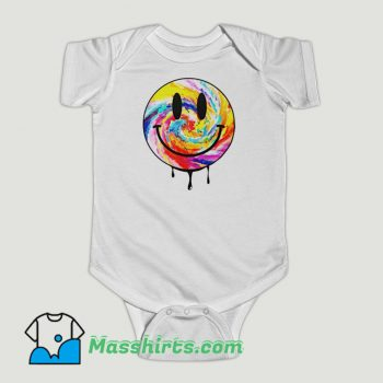 Funny Acid Dripping Smiley Face Tie Dye Baby Onesie