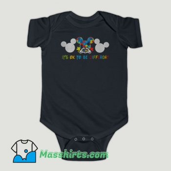 Funny Autism Mickey Mouse It's Ok To Be Different Baby Onesie