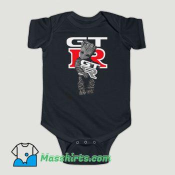 Funny Baby Groot Hug Mustang GTR Baby Onesie