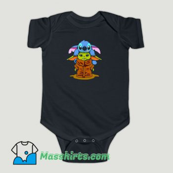 Funny Baby Stitch And Baby Yoda Are Friends Baby Onesie