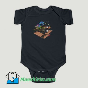 Funny Baby Yoda Baby Stitch Baby Night Fury And Baby Groot In The Box Baby Onesie