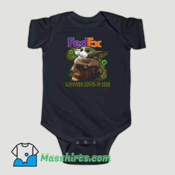 Funny Baby Yoda Fedex Survived Covid 19 Baby Onesie