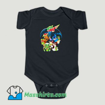 Funny Baby Yoda Groot Stitch Toothless hugging Mtn Dew Baby Onesie