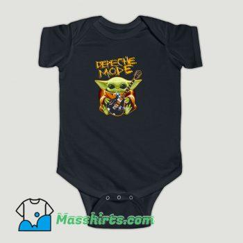Funny Baby Yoda Hug Depeche Mode Guitar Baby Onesie