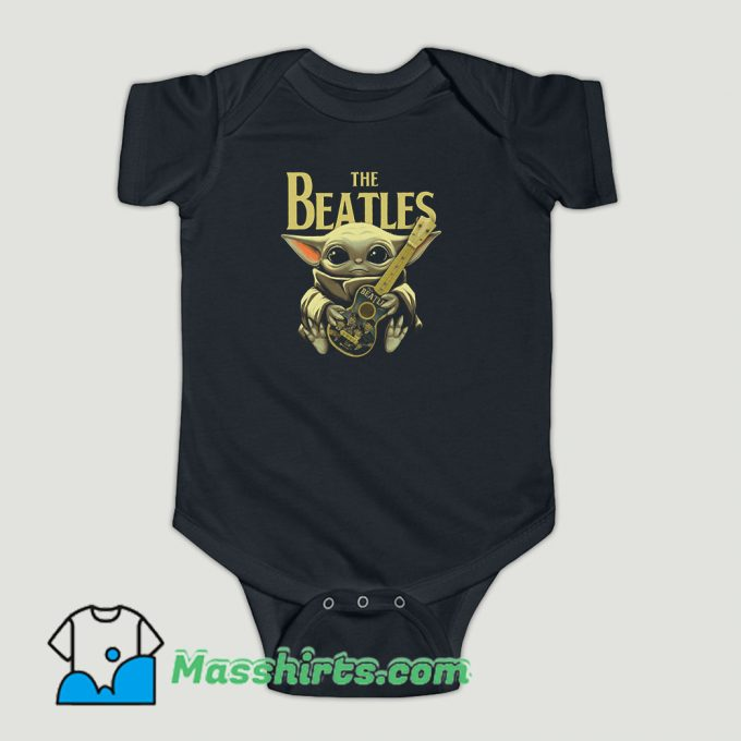 Funny Baby Yoda Hugs The Beatles Baby Onesie