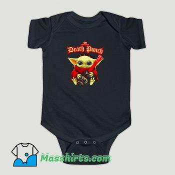 Funny Baby Yoda hug guitar Five Finger Death Punch Baby Onesie