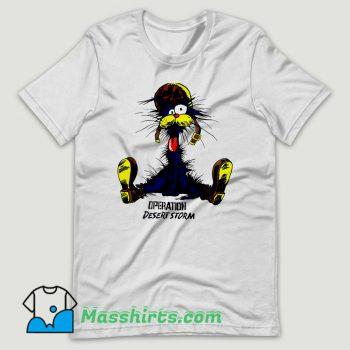 The Cat Operation Desert Storm Cartoon T Shirt Design