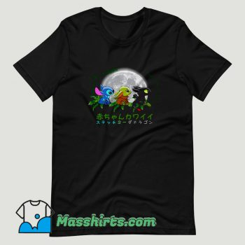 Trio baby Baby Yoda Stitch and Toothless T Shirt Design
