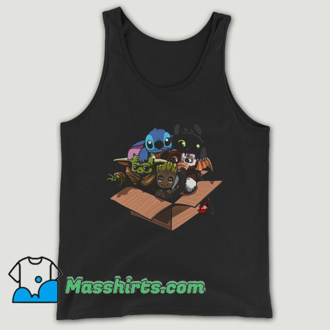 Baby Yoda Baby Stitch Baby Night Fury And Baby Groot In The Box Unisex Tank Top