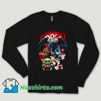 Baby Yoda Groot And Toothless Stitch Gizmo Hugging Dr Pepper Long Sleeve Shirt