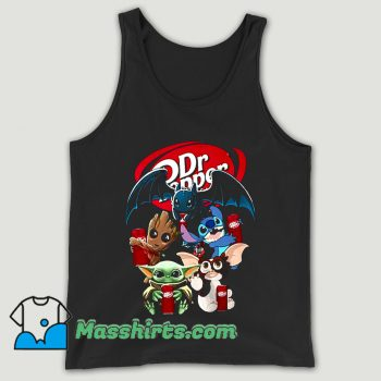 Baby Yoda Groot And Toothless Stitch Gizmo Hugging Dr Pepper Unisex Tank Top