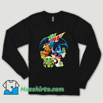 Baby Yoda Groot Stitch Toothless Hugging Mtn Dew Long Sleeve Shirt
