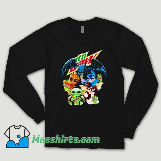 Baby Yoda Groot Stitch Toothless Hugging Mtn Dew Long Sleeve Shirt