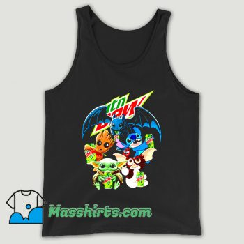 Baby Yoda Groot Stitch Toothless Hugging Mtn Dew Unisex Tank Top