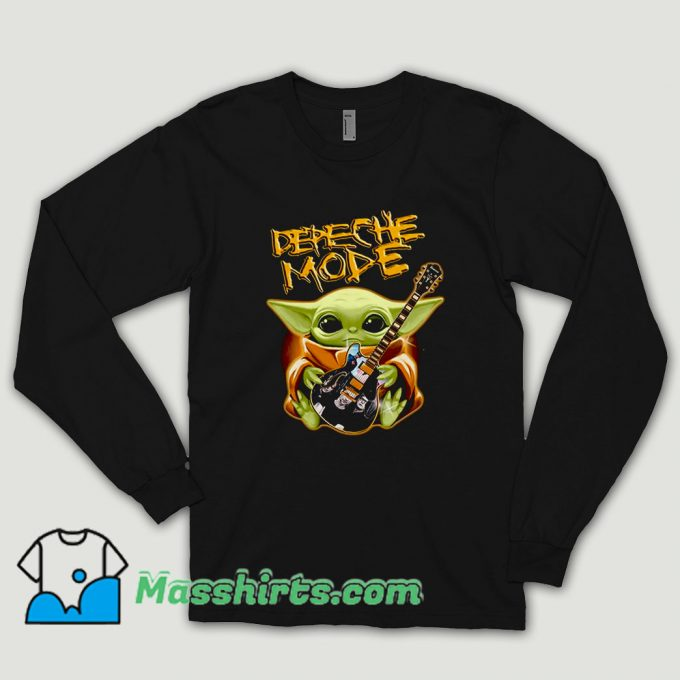 Baby Yoda Hug Depeche Mode Guitar Long Sleeve Shirt