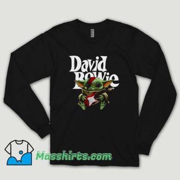 Baby Yoda Hug Guitar David Bowie Long Sleeve Shirt