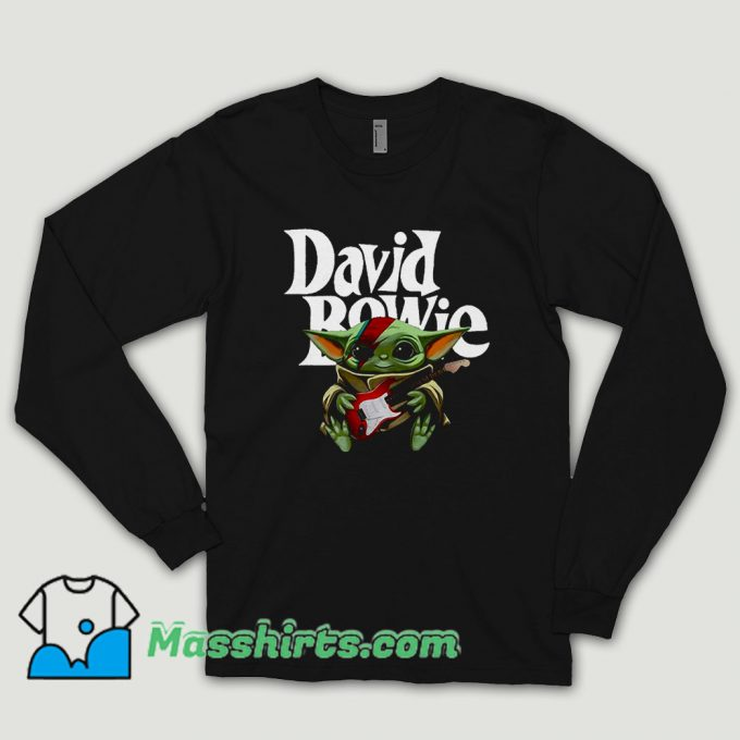 Baby Yoda Hug Guitar David Bowie Long Sleeve Shirt
