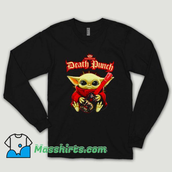 Baby Yoda Hug Guitar Five Finger Death Punch Long Sleeve Shirt