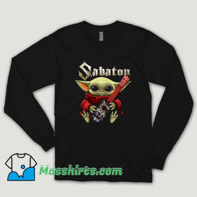 Baby Yoda Hug Guitar Sabaton Long Sleeve Shirt
