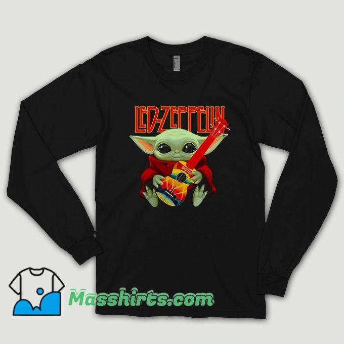 Baby Yoda Hug Ledzeppelin Guitar Long Sleeve Shirt