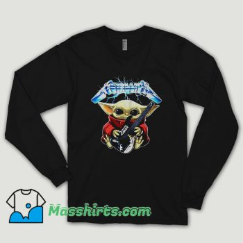 Baby Yoda Hug Metallica Guitar Long Sleeve Shirt