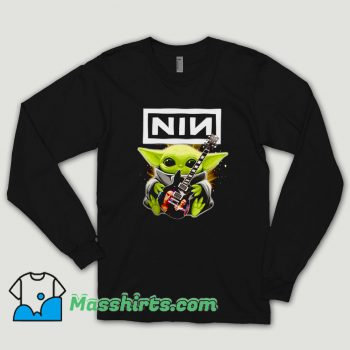 Baby Yoda Hug Nine Inch Nails Guitar Long Sleeve Shirt